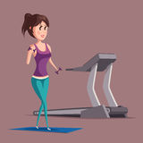 Woman or girl doing weight exercise with dumbbell or barbell on carpet near treadmill. Sportswoman or female at muscle Stock Photos