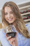 Woman Girl Drinking Red Wine Stock Image