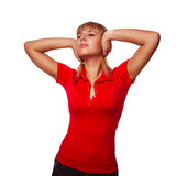 Woman girl experiencing headaches, stress and Stock Image