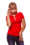 Woman girl experiencing headaches, stress Stock Photography