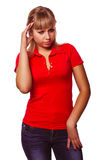 Woman girl experiencing headaches, stress and Stock Photos