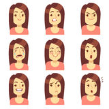 Woman, girl face emotions expression vector avatar icons Stock Images