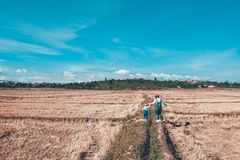Woman and Girl on Farm Field royalty free stock photos