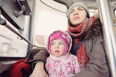 Woman and Girl in Funicular Stock Photos