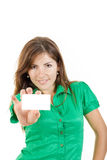 Woman or girl in green shirt with bussiness card against white b Royalty Free Stock Photo