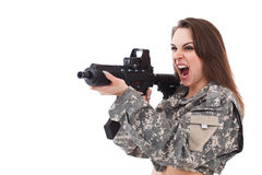 Woman girl with gun Royalty Free Stock Photos
