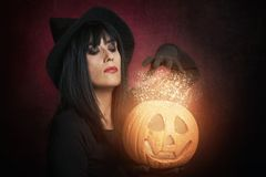 Woman girl on halloween. Beautiful woman like witch with pumpkin Royalty Free Stock Photography