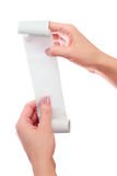Woman or Girl Hold in Hands Roll of Paper With Printed Receipt Mock Up Template. Clean Mockup. May be Placed in Article About Shop. Ping, Paying Bills, Finance Stock Photo