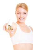 Woman girl holding vitamins pills. Health care. Stock Images