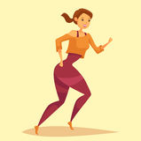 Woman or girl jogging, running at cardio training Royalty Free Stock Photography