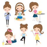 Woman Girl Lifestyle Activity Set. Vector illustration of woman or girl in different lifestyle activities such as cooking, working, reading, cleaning, doing yoga Royalty Free Stock Photo
