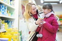 Woman and girl making shopping Stock Photo