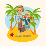 Woman and girl map suitcase starfish palm sand beach Royalty Free Stock Image