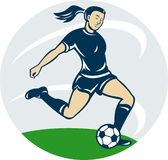 Woman girl playing soccer Stock Photo