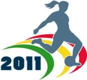 Woman girl playing soccer 2011 Stock Image