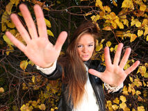 Woman girl portret in autumn green leaf wall Royalty Free Stock Image