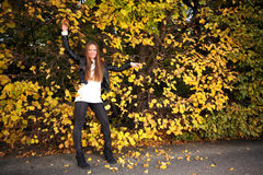 Woman girl portret in autumn green leaf wall Royalty Free Stock Images