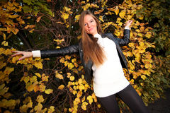 Woman girl portret in autumn green leaf wall Royalty Free Stock Photography