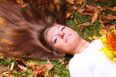 Woman girl portret in autumn leaf Royalty Free Stock Images