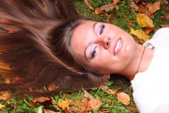 Woman girl portret in autumn leaf Royalty Free Stock Photos
