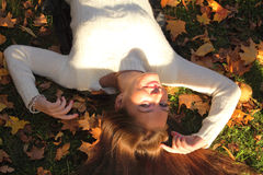 Woman girl portret in autumn leaf Stock Image