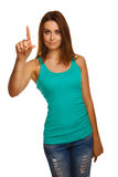 Woman girl presses point finger touches screen, Royalty Free Stock Photography