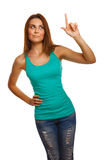 Woman girl presses point finger touches screen Stock Images