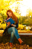 Woman girl relaxing in autumnal park reading book Stock Images