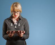 South African businesswoman, tablet and social media people icons Stock Photography