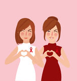 Woman girl show support for cancer survivor red ribbon. Vector Royalty Free Stock Photography