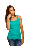 Woman girl shows gesture of phone calls vest Stock Image