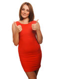 Woman girl shows positive sign thumbs yes Stock Photography