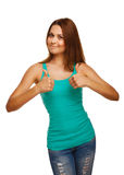 Woman girl shows positive sign thumbs yes Royalty Free Stock Photography