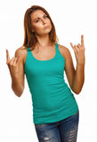 Woman girl shows sign devil rock metal in jeans Royalty Free Stock Photography