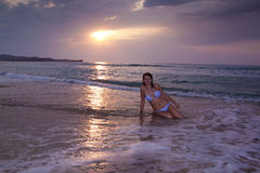 Woman Girl Sitting Sunrise Sunset Beach Stock Photos