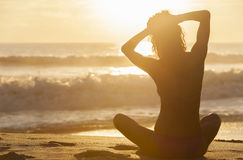 Woman Girl Sitting Sunrise Sunset Bikini Beach Royalty Free Stock Photography