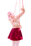 Woman girl stylized like marionette puppet on string Stock Image