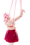 Woman girl stylized like marionette puppet on string Royalty Free Stock Images