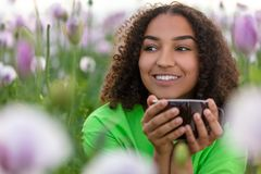Free Woman Girl Teenager Field Of Flowers Drinking Cup Of Coffee Or Tea Stock Photos - 152635563