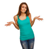 Woman girl throws up his hands in doubt isolated. On white background Stock Photography