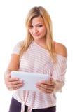 Woman girl using tablet touchpad e-book e-reader Stock Photos