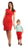 Woman and girl walking Royalty Free Stock Photography