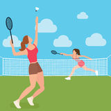 Woman girls play tennis badminton racket court. Vector illustration vector illustration