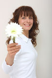 A woman give a flower. A smiling beautiful woman giving a flower isolated on a white background Royalty Free Stock Photos