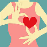 Woman give heart. Woman body on blue background, who is her hand post to give her red heart Stock Images