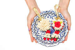 Woman give a Malai The flower in Thai Tradition Style Royalty Free Stock Image