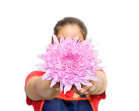 Woman give a pink dahlia Stock Photo