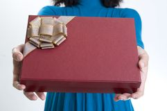 Woman Give Present Stock Images
