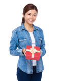 Woman give present box to you Royalty Free Stock Images