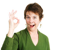 Woman Gives Enthusiastic Okay Royalty Free Stock Image